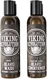 Viking Revolution Beard Wash & Beard Conditioner Set w/Argan & Jojoba Oils - Softens, Smooths & Strengthens Beard Growth - Natural Peppermint and Eucalyptus Scent - Beard Shampoo w/Beard Oil (5 oz)