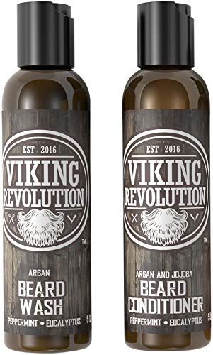 Viking Revolution Beard Wash & Beard Conditioner Set w/Argan & Jojoba Oils - Softens, Smooths & Strengthens Beard Growth - Natural Peppermint and Eucalyptus Scent - Beard Shampoo w/Beard Oil (5 oz) Dry Skin Moisturizing Comb