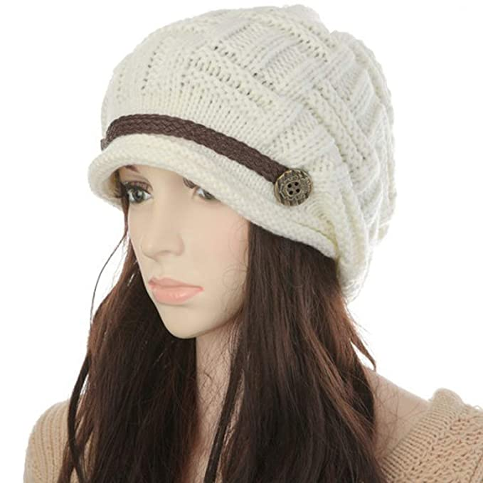 56019a7146ba Image Unavailable. Image not available for. Color  KirGiabo Women Winter Beanie  Cabled Checker Pattern Knit Hat Button Strap Cap White
