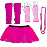 Kids Neon Colours UV Tutu Gloves Leg Warmers and Beads 1980s Fancy Dress (Pink)