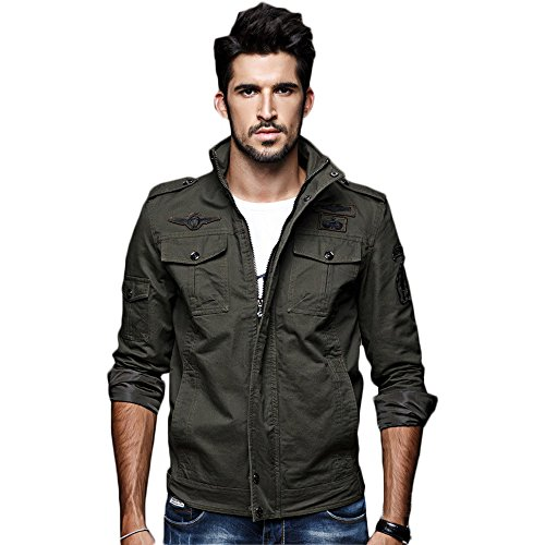 WEEN CHARM Mens Casual Jacket Stand Collar Canvas Cotton Military Jackets Windbreaker Outdoor ()