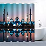 AMFD Decor Shower Curtain Muslim Symmetry Classic Architecture Reflected in Water Bustling Spectacular Night View, Polyester Fabric Waterproof Mildew Resistant 70 x 70 Inches Include Hook Dark Blue