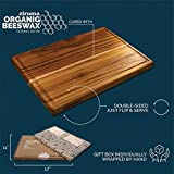 """Premium Grade-A Teak Wood Cutting Board for Kitchen - Reversible with Juice Groove and Cured with Organic Beeswax (Gift Box Included - 17""""x11"""") by Ziruma"""