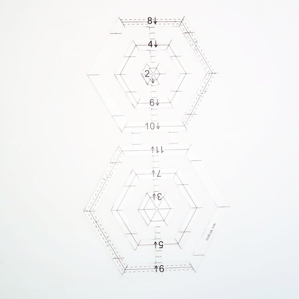 Healifty Regla Plantilla de Forma de Doble Pent/ágono Herramienta de Costura DIY Regla de Corte Multiusos