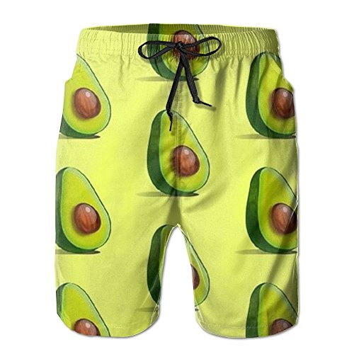 Love Avocado Vegan Men Quick Dry Lightweight Beachwear Casual Shorts Beach Board Shorts Boardshorts by Colivy