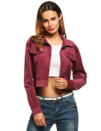 Zeagoo Women`s Turn Down Collar Corduroy Jacket with Chest Pockets 51exxf1Tr3L
