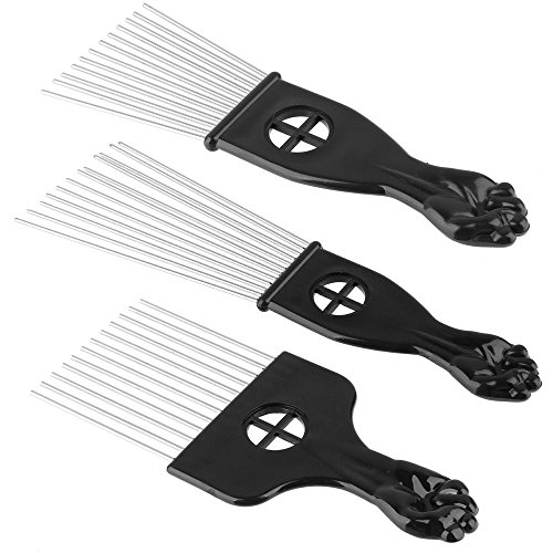 Beauty7 3PCS Metal Hair Styling Pik Afro Pick Comb For Volume & Tangles Black Fan Fist Hand Model by Beauty7