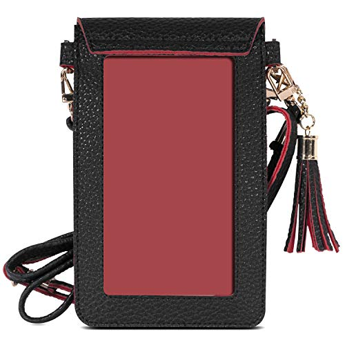 MoKo Cell Phone Bag, PU Leather Crossbody Bag Mini Phone Pouch Compatible for iPhone Xs/Xs Max/XR/X, Samsung Galaxy S10e/S10/S10 PLUS, Google Pixel 3a/3a XL, Oneplus 7/7 Pro - Black + Red