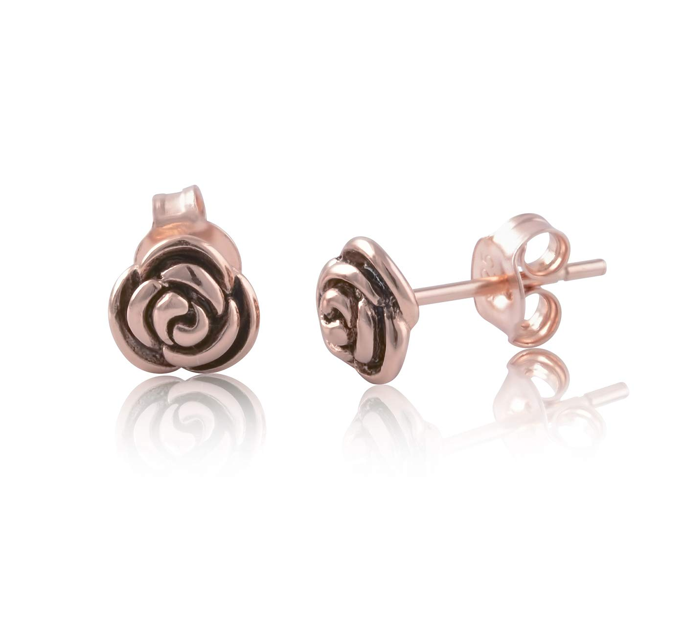 Rose Gold Tone Silver Rose Flower Stud Earrings - 7mm