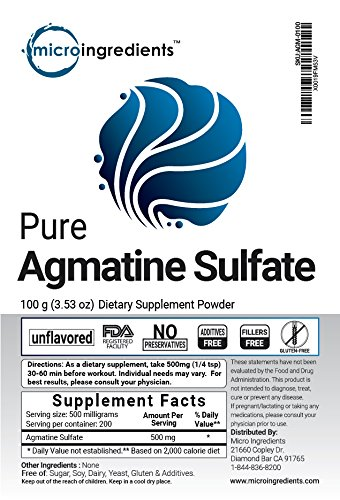Micro Ingredients Pure Agmatine Sulfate Powder, 100 grams