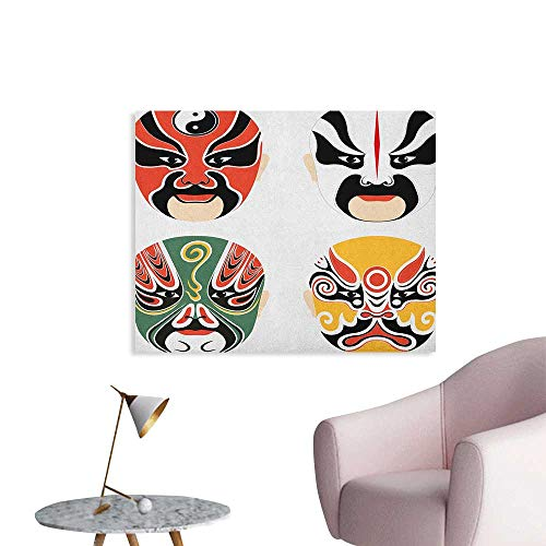 Anzhutwelve Kabuki Mask Wall Sticker Decals Cultural Drama Costumes with Artistic Oriental Masks Ethnic Mystic Details Poster Paper Multicolor W36 xL32]()