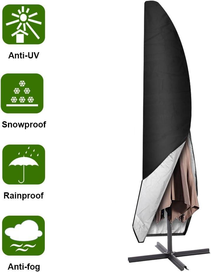 Aimego Funda para Parasol, 265cm Funda para Sombrilla Jardín/Funda Protectora para Sombrilla Oxford, Impermeable, Negro