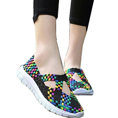 Sanearde Women Slip on Walking Shoes Woven Elastic Mary Jane Flat Lightweight Fashion Sneakers (7.5, Black)
