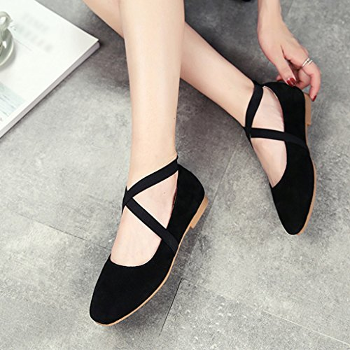 HWF Chaussures femme Printemps Chaussures de Ballet Cross Straps Retro Femmes Chaussures Shallow Mouth Chaussures simples Plat Femme ( Couleur : Beige , taille : 38 ) Noir