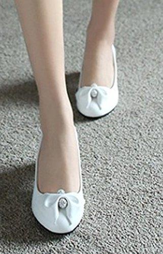 Aisun Womens Sweet Dress Medium Chunky Tacchi Punta Rotonda Slip On Pumps Scarpe Con Fiocchi Bianchi