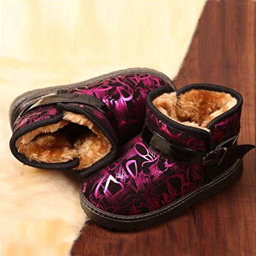 Ouneed® Stiefel Stiefeletten , Mädchen Jungen Schlupfstiefel Weiche Leather Gepolsterten Schuhe Warm Gefüttert Boots Winter Stiefel Winterschuhe Baby Kleinkind Hot Pink