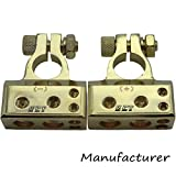 2pcs Battery Terminal 2x4ga+2x8ga Positive Negative Gold Auto Car Audio Modification