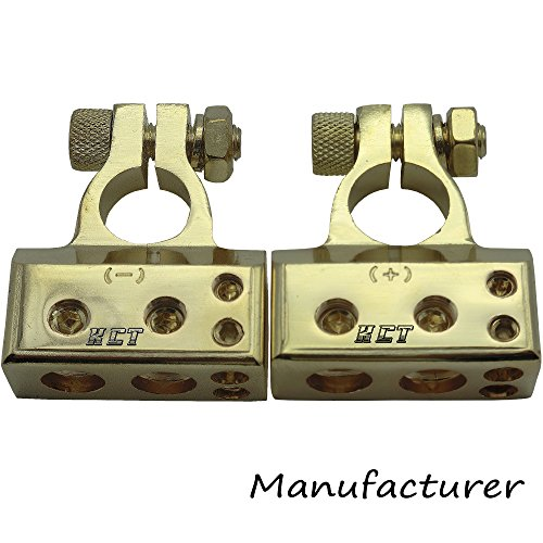 2pcs Battery Terminal 2x4ga+2x8ga Positive Negative Gold Auto Car Audio Modification (Gold Car Battery Terminals)
