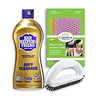 BAR Keepers Friend Soft Cleanser with Grout Brush and Non Scratch Scouring Cloth