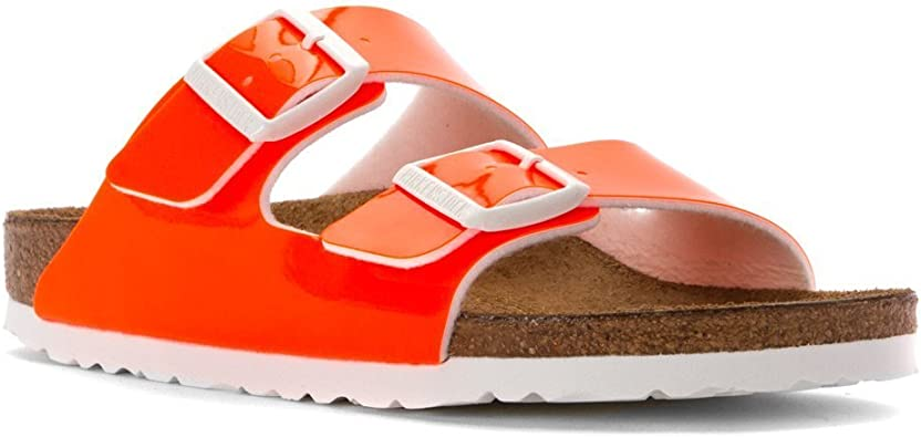 Birkenstock Women's Arizona Slide On Sandal, Color: Neon Orange Patent Birko Flor, Size: 36 N