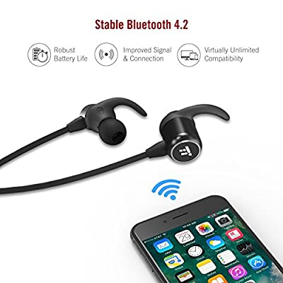 TaoTronics Bluetooth Headphones, Wireless Headphones with Bluetooth 4.2, Bluetooth Headset with Magnetic Earbuds, Snug Fit for Sports with MEMES Mic and Ceramic Antenna …