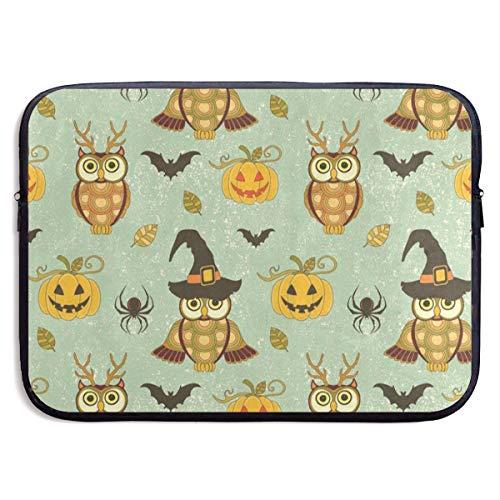 Funny Design Vintage Owl Pumpkin Halloween Spider Laptop Sleeve Waterproof Neoprene Diving Fabric Protective Briefcase Laptop Bag for IPad, Notebook/Ultrabook/Acer/Asus/Dell ()