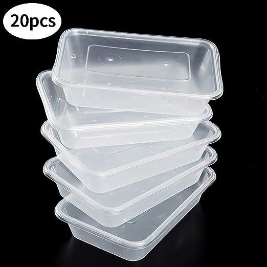 SWZY Envases de Alimentos con Tapas para el Almuerzo, 500 ML 20 ...