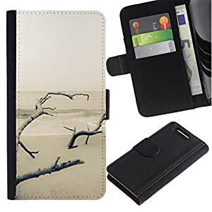 KingStore / Leather Etui en cuir / Sony Xperia Z1 Compact D5503 / Invierno de Lonely Blanca Nieve