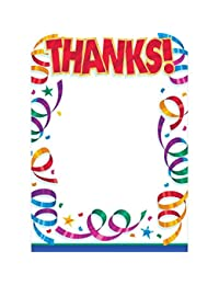 Amscan Colorful Streamers Border Post Card Thank You Notes Set Party Supply, Multicolor, 5 7/16