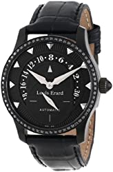 Louis Erard Women's 92601NS02.BAV05 Emotion Automatic Black PVD Alligater Leather Diamond Watch