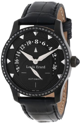 Louis Erard Women's 92601NS02.BAV05 Emotion Automatic Black PVD Alligater Leather Diamond Watch