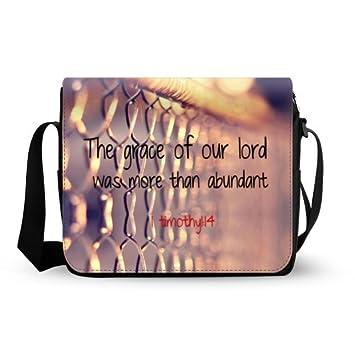 1ec5acea3a66 Practical Christian Bible Verse 1timothy 1 14 Theme Custom Oxford Fabric Messenger  Bag