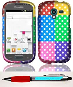 Accessory Factory(TM) Bundle (the item, 2in1 Stylus Point Pen) For Samsung T599 Galaxy Exhibit Rubberized Design Cover Case - Colorful Polka