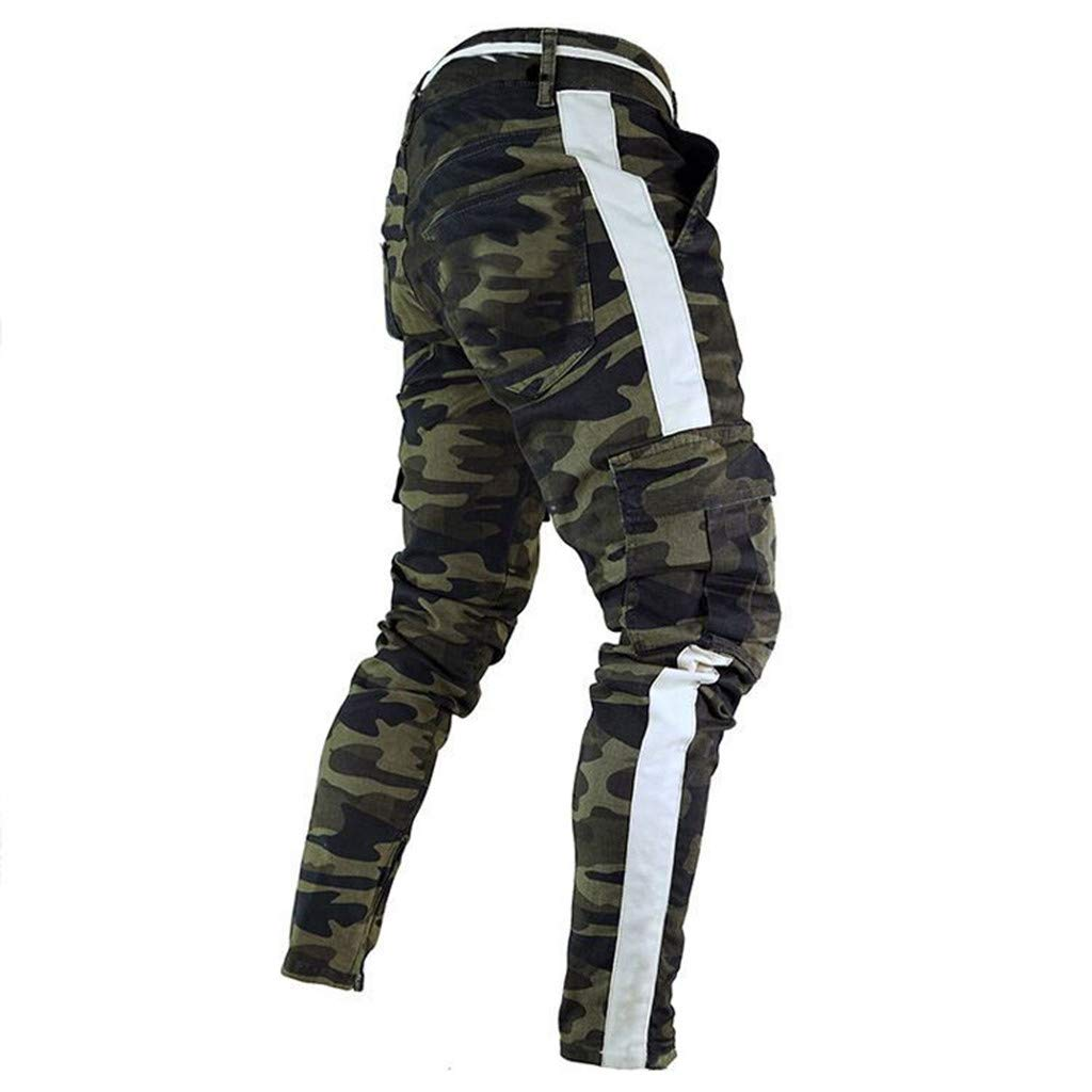Siriay Mens Pants Mens Skinny Stretch Camouflage Denim Pant Pleated Ripped Freyed Slim Fit Jeans Trousers