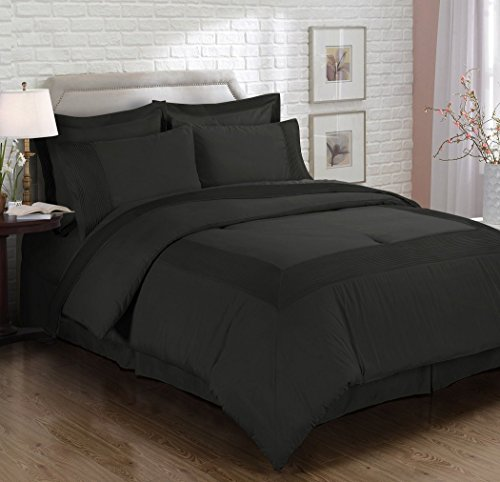 Chezmoi Collection 3-piece Solid Pleated Hem Duvet Cover Set with Corner Ties (King, Black) price
