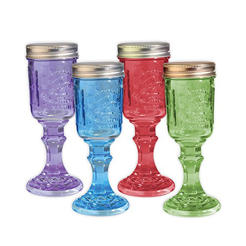 Toland Home Garden Mason Jar 8 oz Wine Glass (Set of 4), Red/Purple/Blue/Green, 1/2 pint for $<!--$19.99-->
