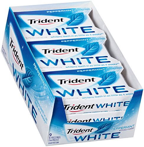 Trident White SugarFree Gum Peppermint, 16 Count, Pack of -