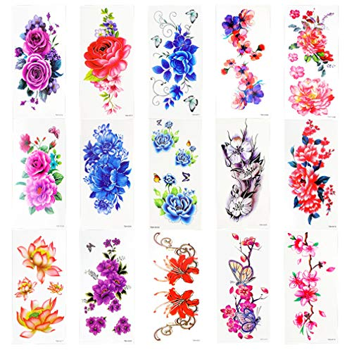 Nydotd 15 Sheets Flower Temporary Tattoos Stickers Waterproof Lotus Cherry Blossoms Flash Tattoo Flower Paper Sexy Body Tattoo Sticker for Women & Girl -