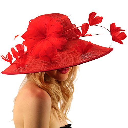 SK Hat shop Demure Dome Sinamy Butterfly Floral Feathers Derby Floppy Dress Wide Hat Red