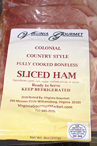 (Country Ham - 8 PACK - Sliced & Cooked Virginia's Finest Hickory Smoked & Cured Virginia Country Ham- Pre-sliced Vacuum Sealed 1/2 lb. per pack. TOTAL 4 POUNDS COUNTRY HAM PRE-SLICED.