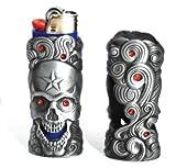 Pewter Iv Metal Bic Lighter Case with Skull Star Design - 1pc