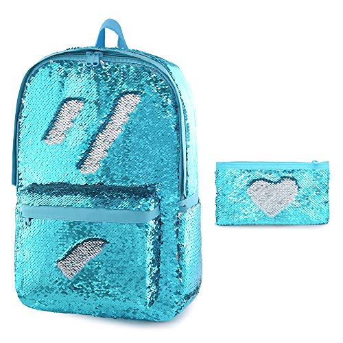 Glitter Backpack for Boys Kids Girls Magic Sequin School Bookbag Sparkly Sequence Book Bag (Aqua Blue)