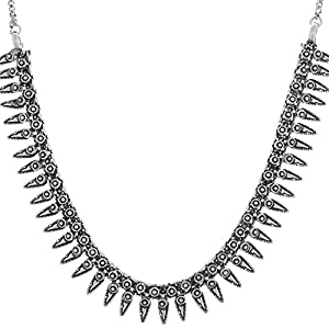 Multiline Company Antique Oxidised German Silver Black Metal Necklace Tribal Banjara White Pearl Beads Necklace Gypsy Style Fusion Jewellery for Women