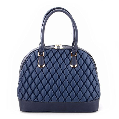 Look Padded and Womens Tote Blue Bag Handbag Navy Quilted Leather dTqECtxdw