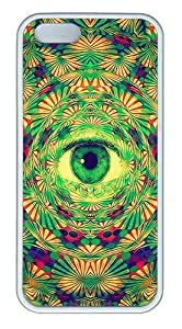 iPhone 5S Case, iPhone 5S Cases -Psychedelic Eye TPU Rubber Soft Case Back Cover for iPhone 5/5S ¡§C White