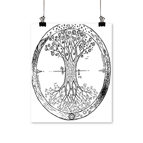 (Hanging Painting Collecti Retro Celtic Tree Image Round Cycle Life Spiritual Universe Rich in Color,28