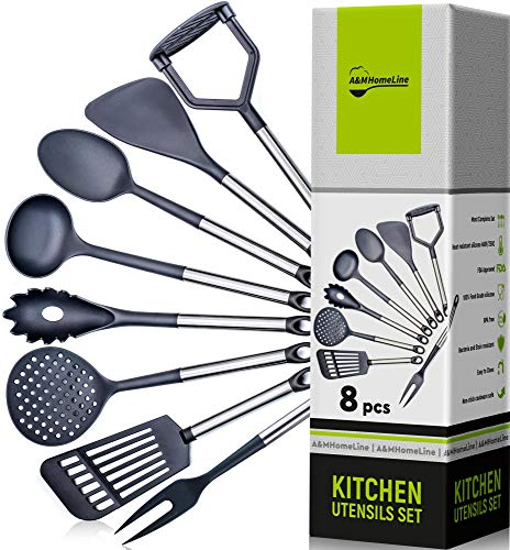 Fork Utensil Nylon Kitchen (A&M HomeLine - Cooking Utensils - Kitchen Utensil Set for Nonstick Cookware Non Scratch Heat Resistant Gadget Spatula, Potato Masher, Spaghetti Server, Fork, Spoon, Turners, Ladle, Skimmer Tools)