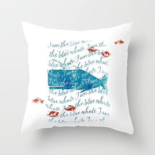 Decorative Square Pillow Case Cushion Cover 20X20 Inches I Am The Blue Whale Throw Pillow Case