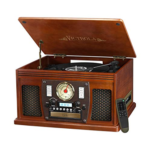 (Victrola Nostalgic Aviator Wood 8-in-1 Bluetooth Turntable Entertainment Center, Mahogany)