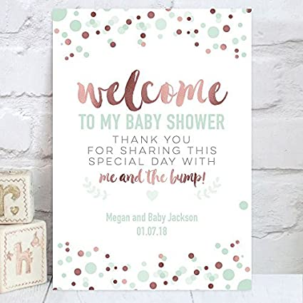 Amazon.com: Signo de bienvenido a mi Baby Shower, mesa ...